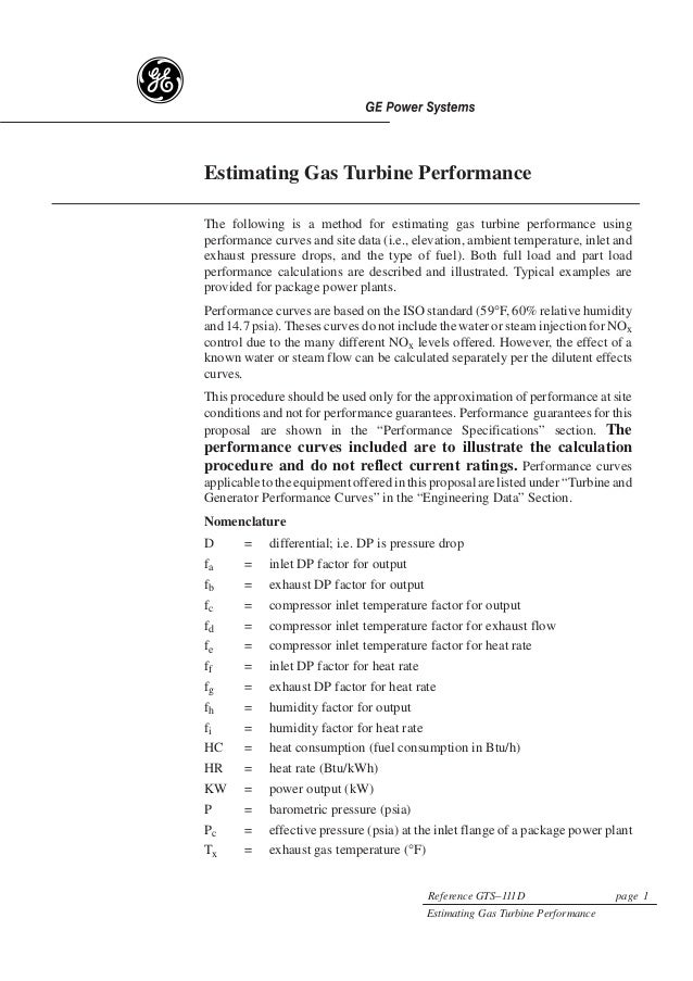 g    Estimating Gas Turbine Performance    The following is a method for estimating gas turbine performance using    perfo...