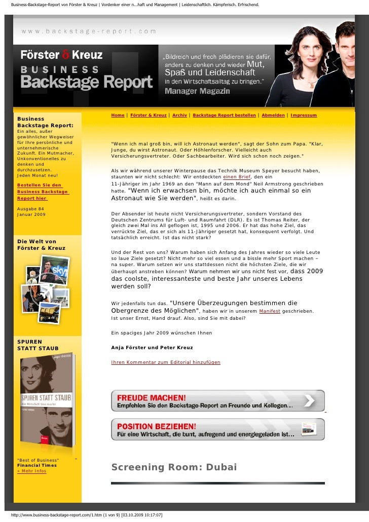 Foerster & Kreuz | Business-Backstage-Report | Das coolste, interessanteste und beste Jahr!, Januar 2009