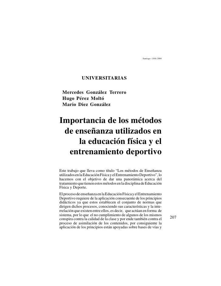 Importancia de los métodos de enseñanza utilizados en la educación física y el entrenamiento deportivo