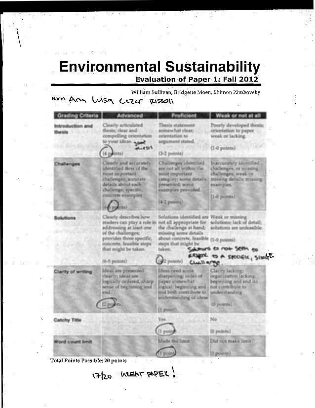 .Environmental Sustainability                                                           Evaluation of Paper 1: Fall 2012  ...