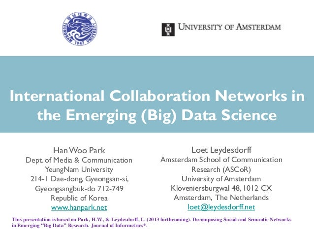 International Collaboration Networks in the Emerging (Big) Data Science HanWoo Park Dept. of Media & Communication YeungNa...