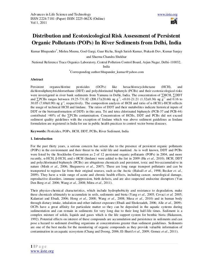 1.[1 13]distribution and ecotoxicological risk assessment of persistent organic pollutants (po ps) in river sediments from delhi, india-