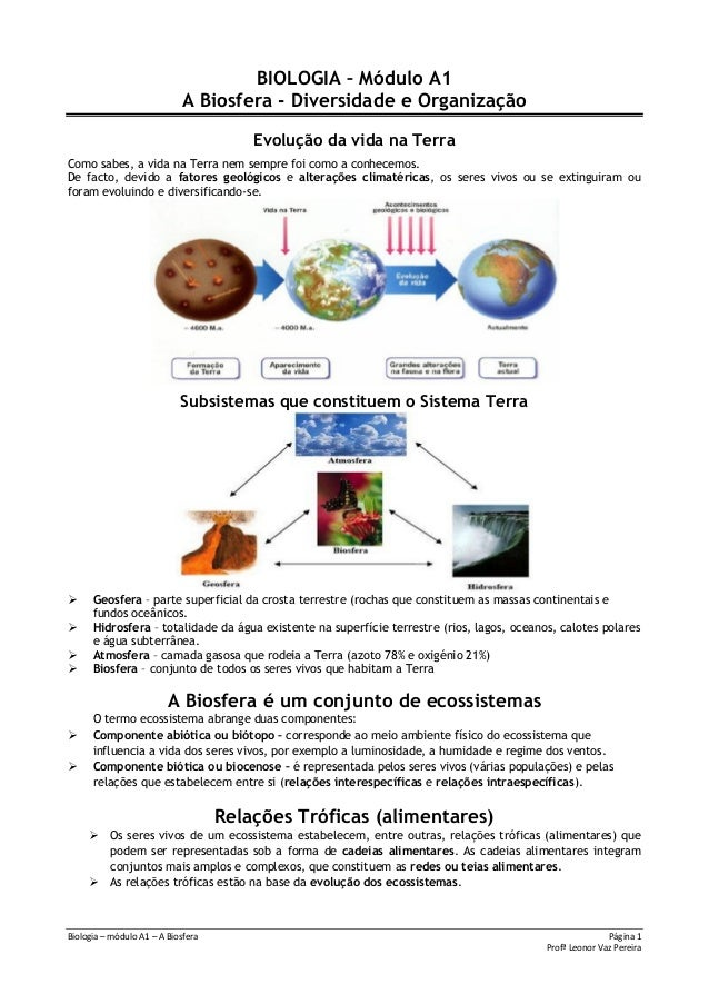 Biologia – módulo A1 – A Biosfera Página 1Profª Leonor Vaz PereiraBIOLOGIA – Módulo A1A Biosfera - Diversidade e Organizaç...