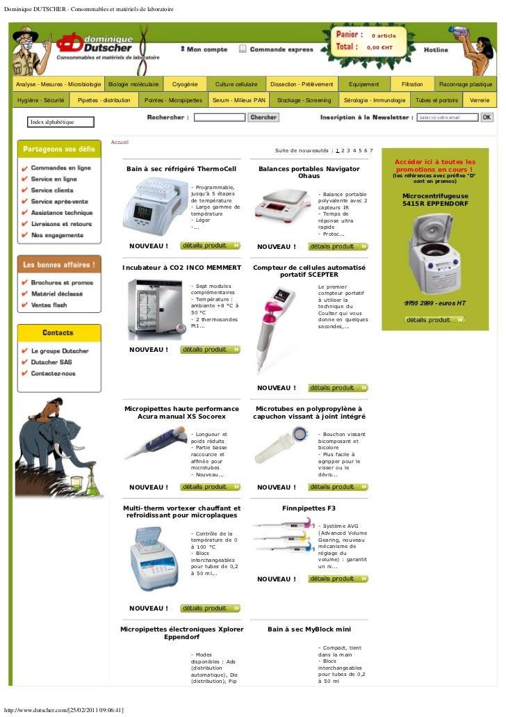 Dominique DUTSCHER - Consommables et matériels de laboratoire                                                             ...