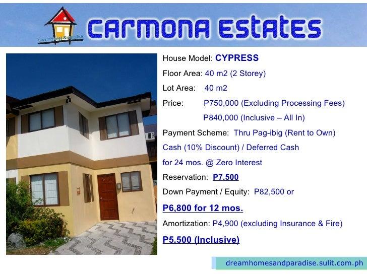 House Lot Carmona Cavite Cypress Rent Own
