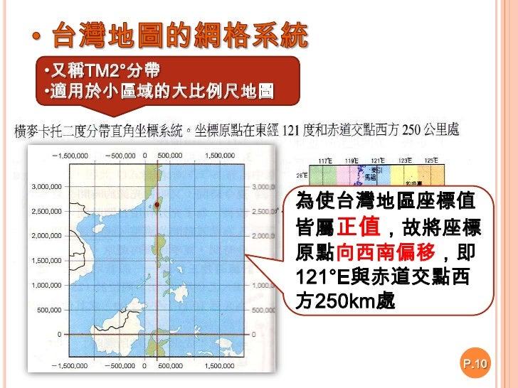 適用於小區域的大比例尺地圖</li></ul>為使台灣地區座標值皆屬正值,故將座標原點向西南偏移,即121°E與赤道交點西<br />方250km處<br />