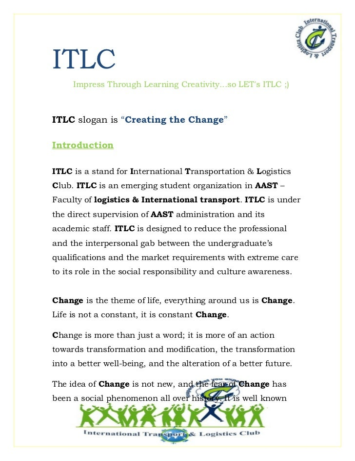 """ITLC     Impress Through Learning Creativity...so LETs ITLC ;)ITLC slogan is """"Creating the Change""""IntroductionITLC is a st..."""