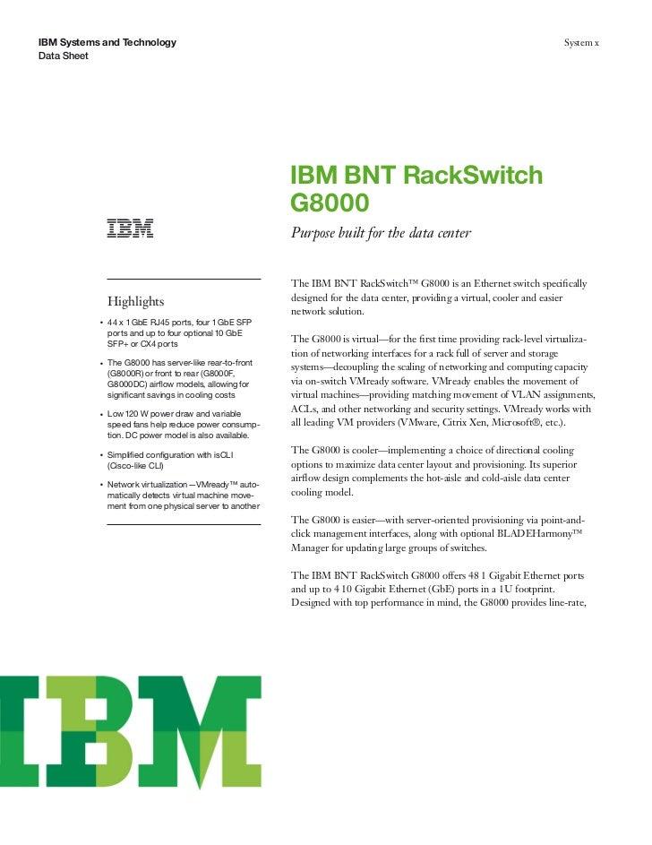 IBM BNT RackSwitchG8000 IBMSystems and TechnologyData Sheet