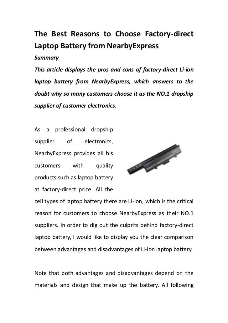 The Best Reasons to Choose Factory-direct Laptop Battery from NearbyExpress