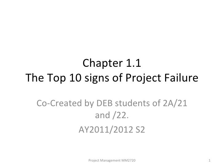 Chapter 1.1 The Top 10 signs of Project Failure Co-Created by DEB students of 2A/21 and /22. AY2011/2012 S2 Project Manage...