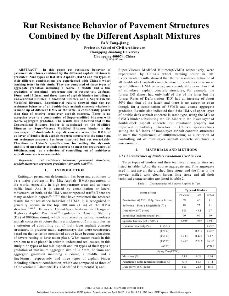 Rut Resistance Behavior of Pavement Structures       Combined by the Different Asphalt Mixtures                           ...