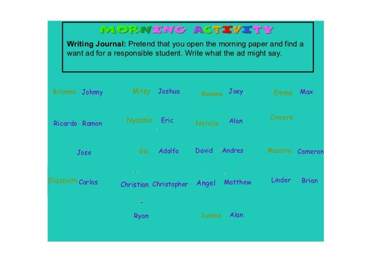 Writing Journal: Pretend that you open the morning paper and find a       want ad for a responsible student. Write what th...