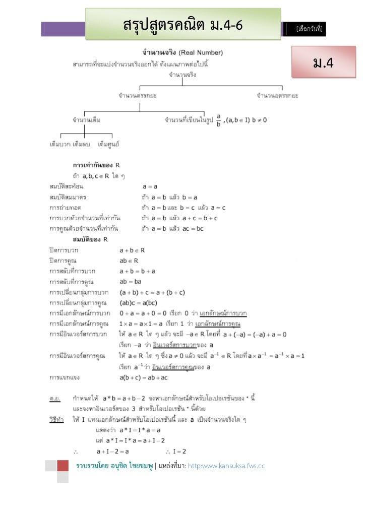 สรุปสูตรคณิตศาสตร์ ม.ปลาย (ม.4-6) ชุด 1