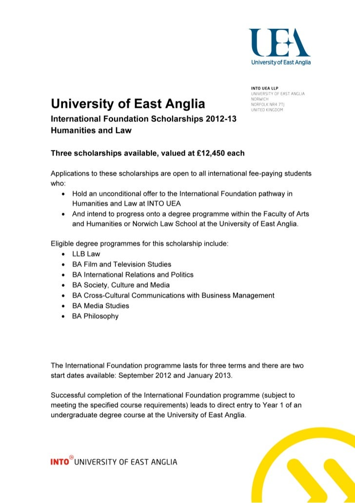 University of East Anglia – International Foundation Scholarships (Humanities and Law) – Intelligent Partners