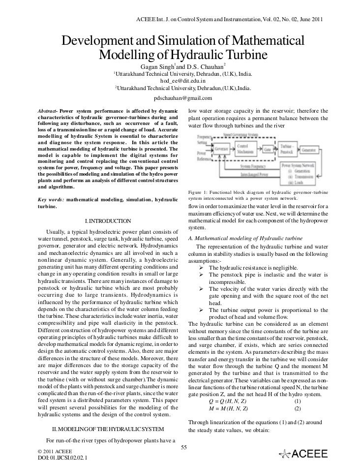 Development and Simulation of Mathematical Modelling of Hydraulic Turbine