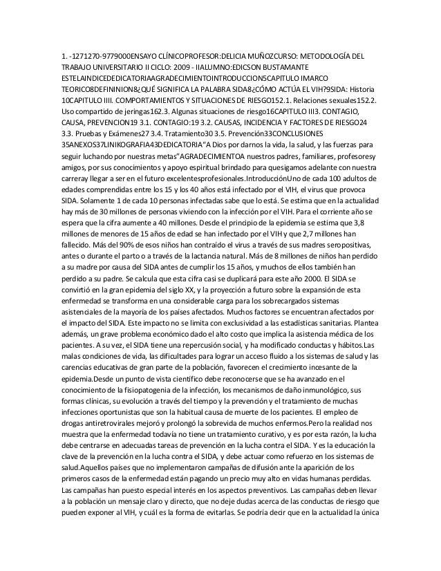 1. -1271270-9779000ENSAYO CLÍNICOPROFESOR:DELICIA MUÑOZCURSO: METODOLOGÍA DELTRABAJO UNIVERSITARIO II CICLO: 2009 - IIALUM...