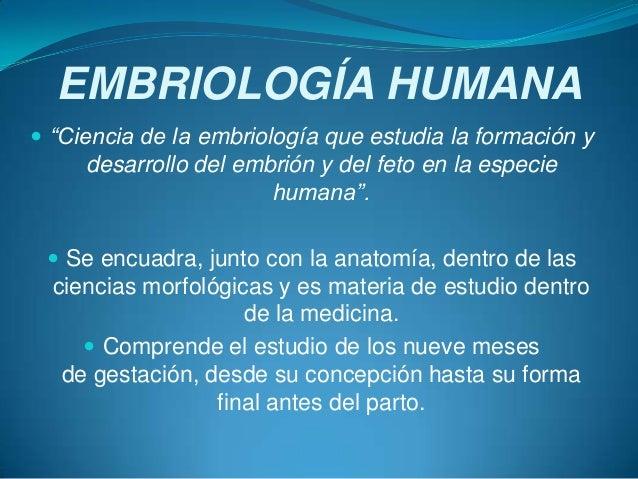 """EMBRIOLOGÍA HUMANA  """"Ciencia de la embriología que estudia la formación y desarrollo del embrión y del feto en la especie..."""