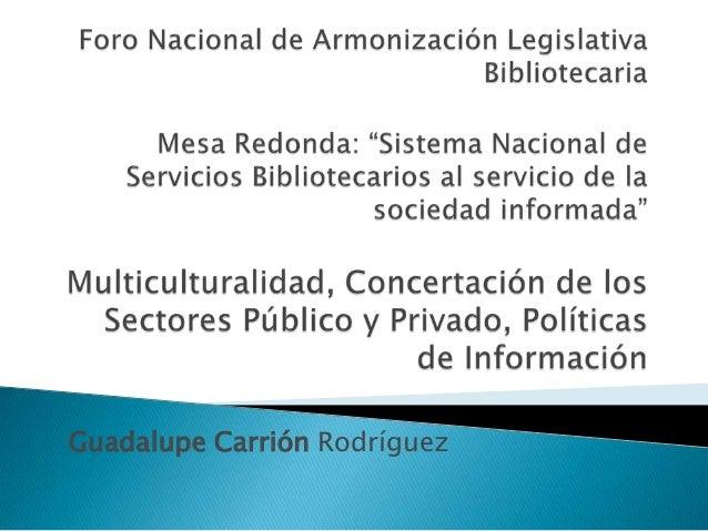 Multiculturalidad, concertación de los sectores público y privado, políticas de información