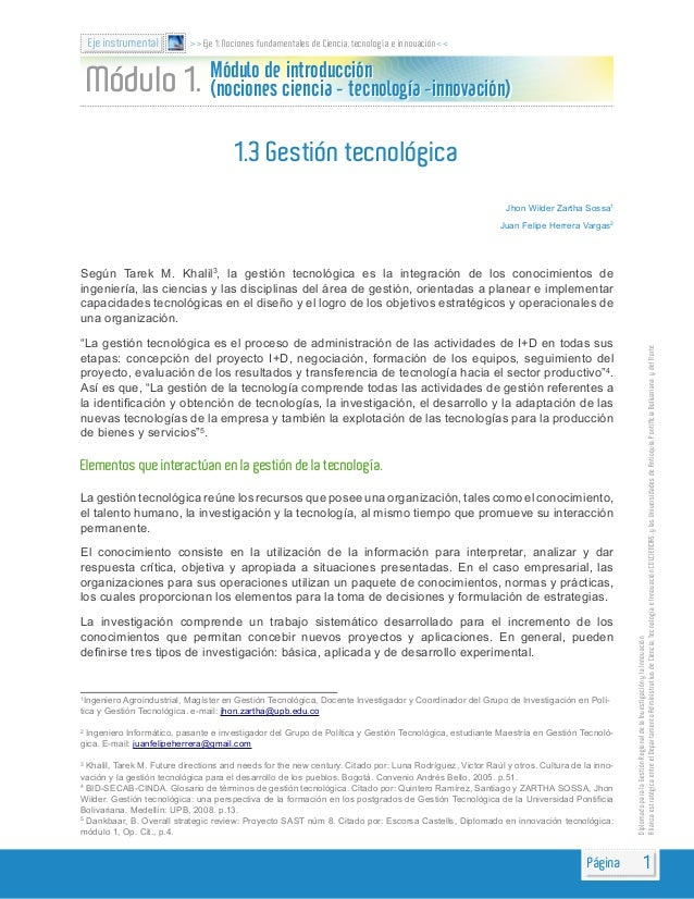 1.3 Gestión tecnológica