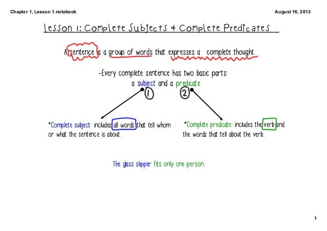 Chapter 1, Lesson 1.notebook 1 August 16, 2013 Lesson 1: Complete Subjects & Complete Predicates A sentence is a group of ...