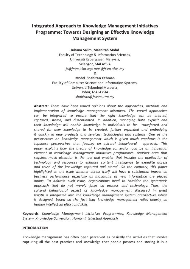 Integrated Approach to Knowledge Management Initiatives Programme: Towards Designing an Effective Knowledge Management Sys...
