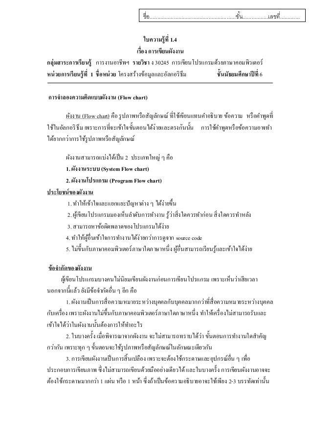 ใบความรู้ที่ 1.4 เรื่อง การเขียนผังงาน กลุ่มสาระการเรียนรู้ การงานอาชีพฯ รายวิชา ง 30245 การเขียนโปรแกรมด้วยภาษาคอมพิวเตอร...