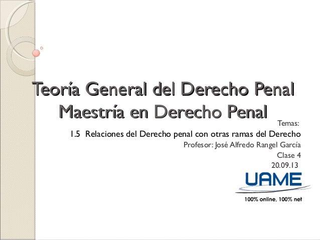 Teoría General del Derecho PenalTeoría General del Derecho Penal Maestría en Derecho PenalMaestría en Derecho Penal Temas:...