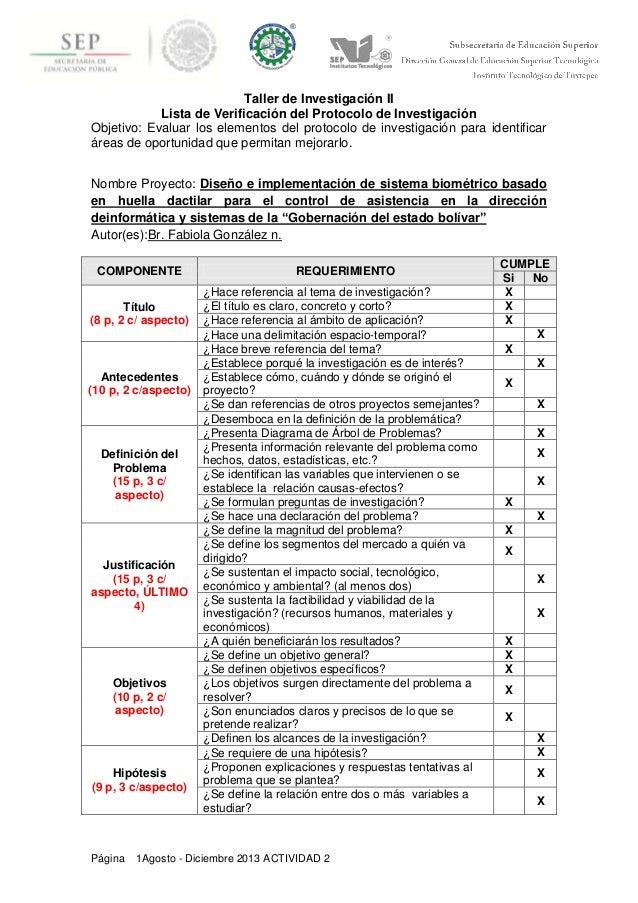 Institut Página 1Agosto - Diciembre 2013 ACTIVIDAD 2 Taller de Investigación II Lista de Verificación del Protocolo de Inv...