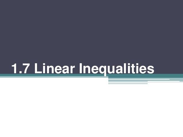 1.7 linear inequalities