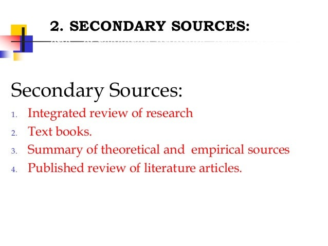 Sources of review of literature