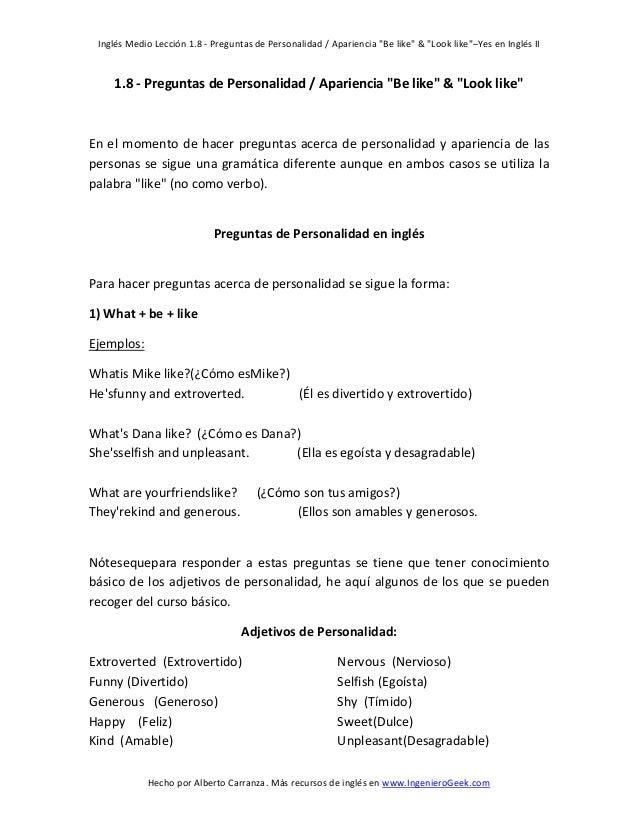 """Inglés Medio Lección 1.8 - Preguntas de Personalidad / Apariencia """"Be like"""" & """"Look like""""–Yes en Inglés II  1.8 - Pregunta..."""