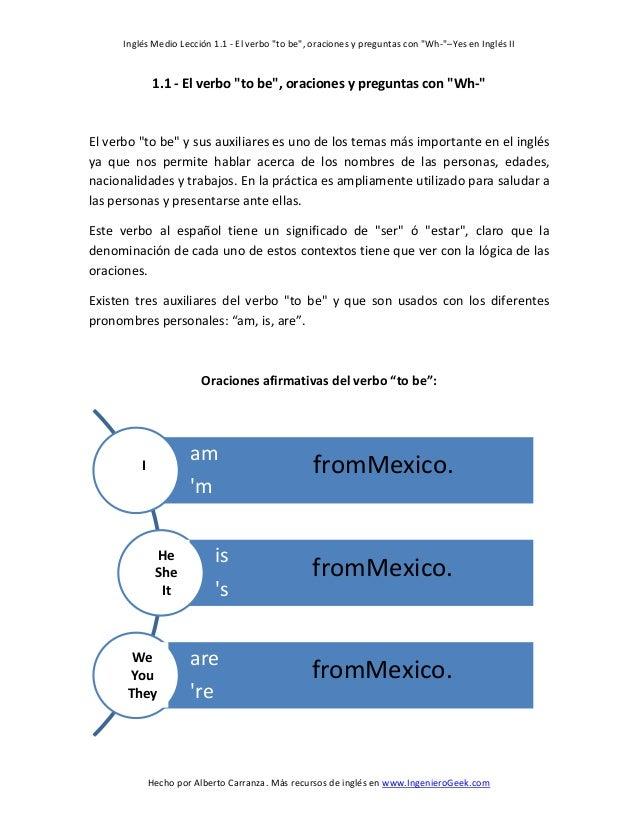 """Inglés Medio Lección 1.1 - El verbo """"to be"""", oraciones y preguntas con """"Wh-""""–Yes en Inglés II  1.1 - El verbo """"to be"""", ora..."""