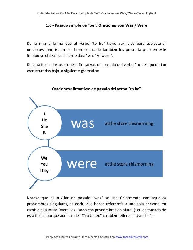 """Inglés Medio Lección 1.6 - Pasado simple de """"be"""": Oraciones con Was / Were–Yes en Inglés II  1.6 - Pasado simple de """"be"""": ..."""