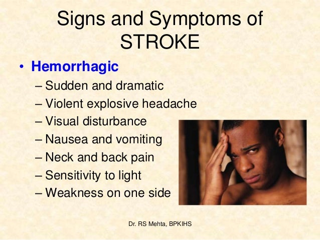 signs and symptoms of stroke pdf