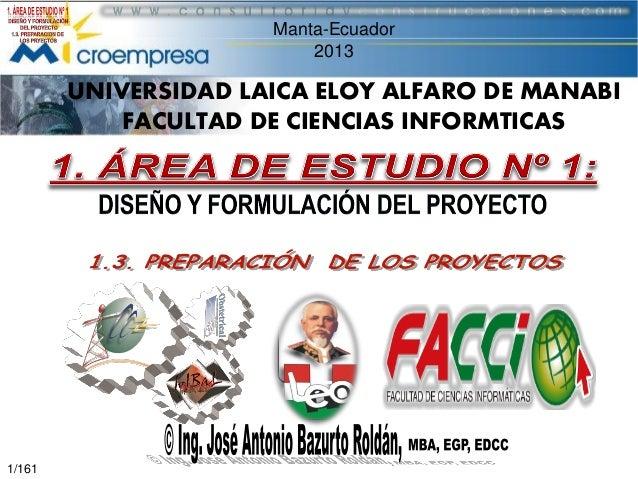 Manta-Ecuador 2013  UNIVERSIDAD LAICA ELOY ALFARO DE MANABI FACULTAD DE CIENCIAS INFORMTICAS  1/161