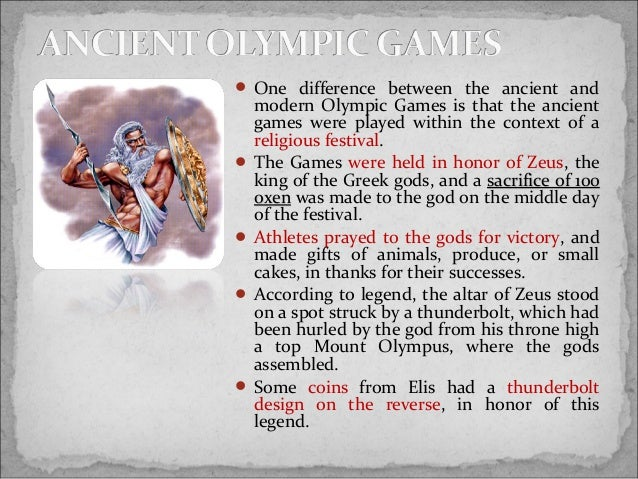 a comparison of the ancient olympic games and modern games