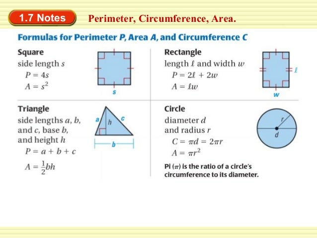 1.7 Notes  Perimeter, Circumference, Area.