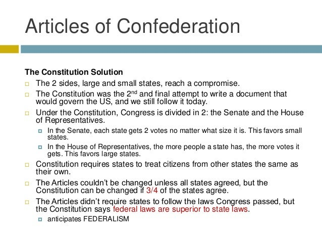 articles of confederation vs the constitution essay The articles of confederation can be referred to as the first 'constitution' of the united states and set  articles of confederation strengths and weaknesses.