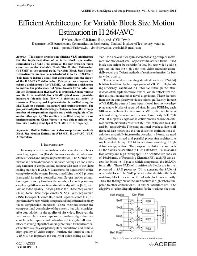 Efficient Architecture for Variable Block Size Motion Estimation in H.264/AVC
