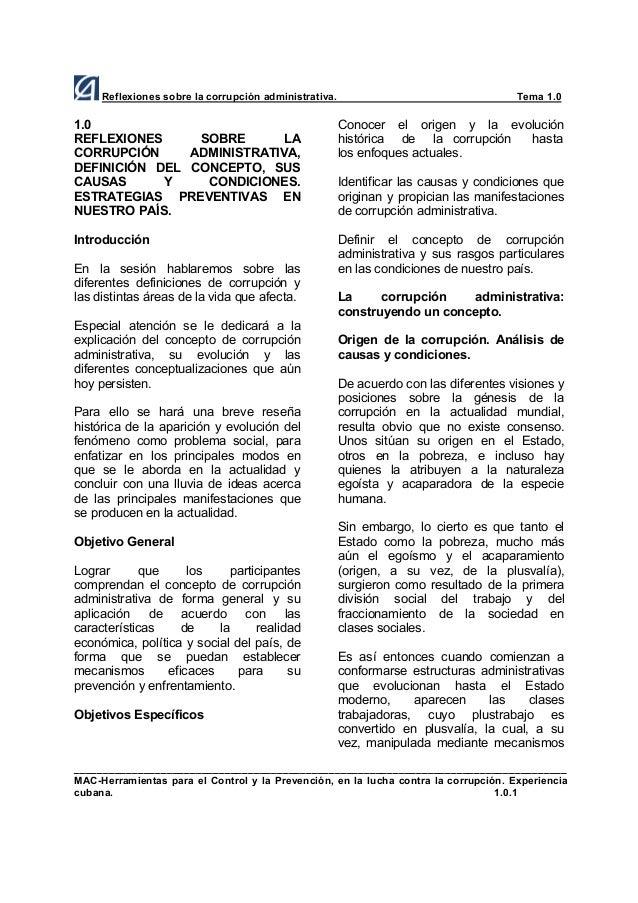 Reflexiones sobre la corrupción administrativa.  Tema 1.0  1.0 REFLEXIONES SOBRE LA CORRUPCIÓN ADMINISTRATIVA, DEFINICIÓN ...