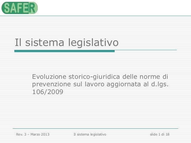 Il sistema legislativo Evoluzione storico-giuridica delle norme di prevenzione sul lavoro aggiornata al d.lgs. 106/2009  R...