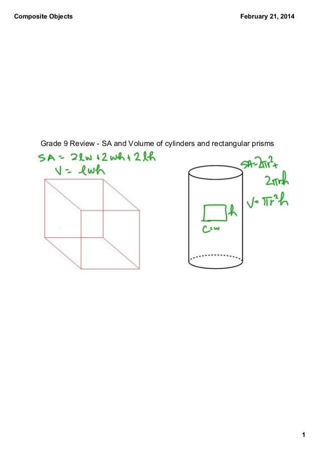 Composite Objects  February 21, 2014  Grade 9 Review ­ SA and Volume of cylinders and rectangular prisms  1