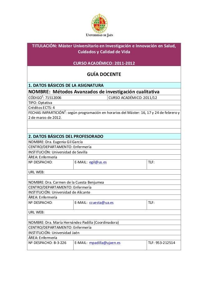TITULACIÓN:  Máster  Universitario  en  Investigación  e  Innovación  en  Salud,   Cuidados  y  Cali...