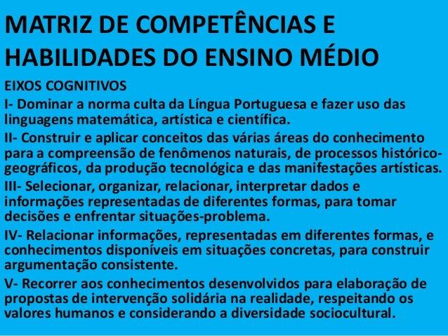 MATRIZ DE COMPETÊNCIAS E HABILIDADES DO ENSINO MÉDIO EIXOS COGNITIVOS I- Dominar a norma culta da Língua Portuguesa e faze...