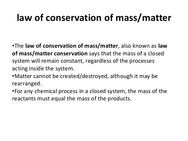 When was the approximate discovery date for the law of the conservation of mass?