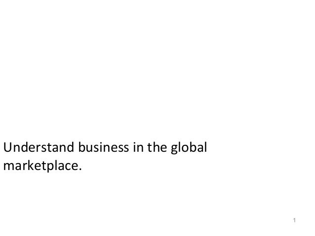 1 Objective 1.03 Understand business in the global marketplace.