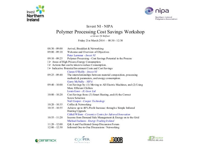 Invest NI - NIPA Polymer Processing Cost Savings Workshop at Invest NI Belfast ( Friday 21st March 2014 - 08:30 - 12:30 08...