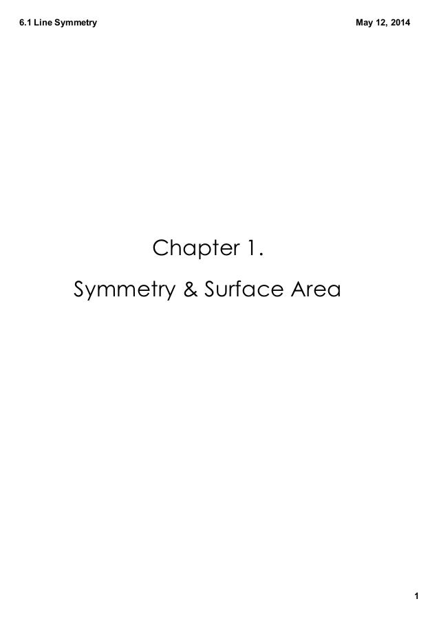 6.1LineSymmetry 1 May12,2014 Chapter 1. Symmetry & Surface Area