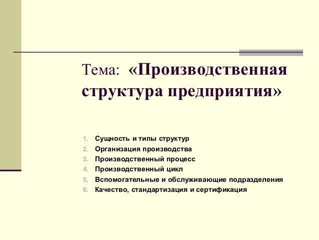 Тема 1 3 производственная структура