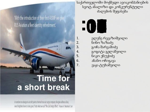 საქართველოში მოქმედი ავიაკომპანიების სვოტ ანალიზი და კონკურენტული ძალების შეფასება 1. ელენე რევაზიშვილი 2. ნინო ზაზაძე 3. ...